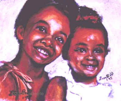 "Commission a portrait of sisters.  Pastel portraits of children and families by Lisabelle. Portraits of siblings in pastel.  ""Sisters"" 1994.  12"" x 16""  on archival museum quality acid free paper.  A similar portrait the same size with two subjects people or pets is approx. 1200."