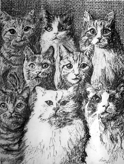 8 CATS 1994 Pen & Ink portrait by Lisabelle, Portraits of People and Pets