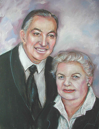 Pastel Portrait by Lisa Bell, Portrait of a couple 15x20""