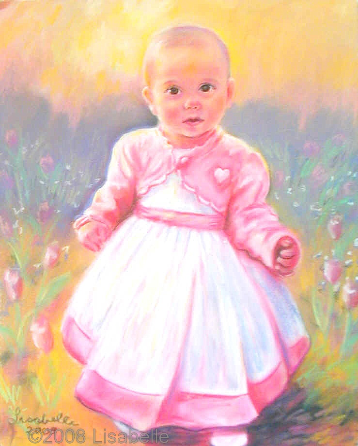 Adrianna 1 Yr. Old Dr. and Mrs. Bertollini, Pastel Portraits of Babies, Infant portraits by commission artist Lisabelle, Commissioned Portrait Painter, Pastel Paintings of Children