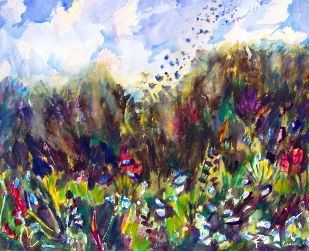 Watercolor Landscape Painting, Painting of Wildflowers, Wildflowers painted, Commission Artist Lisabelle ©2008 Art by Lisabelle