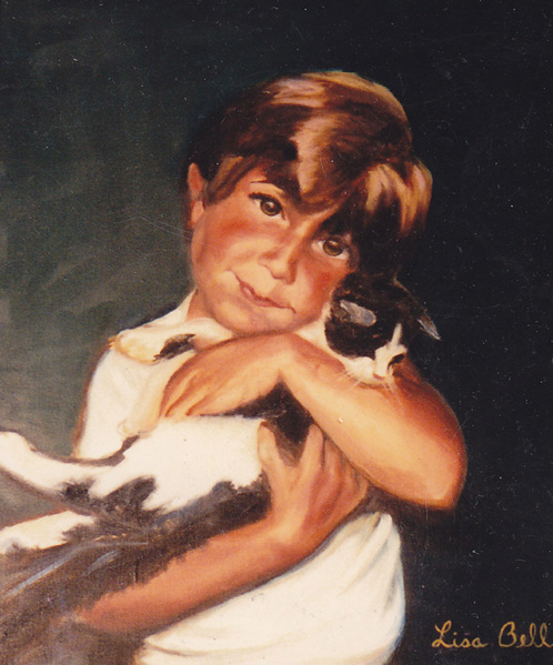 AJ & CAT 1987 Oil Portrait by Lisabelle, Pet Portrait Artist, Portraits of People and Pets,