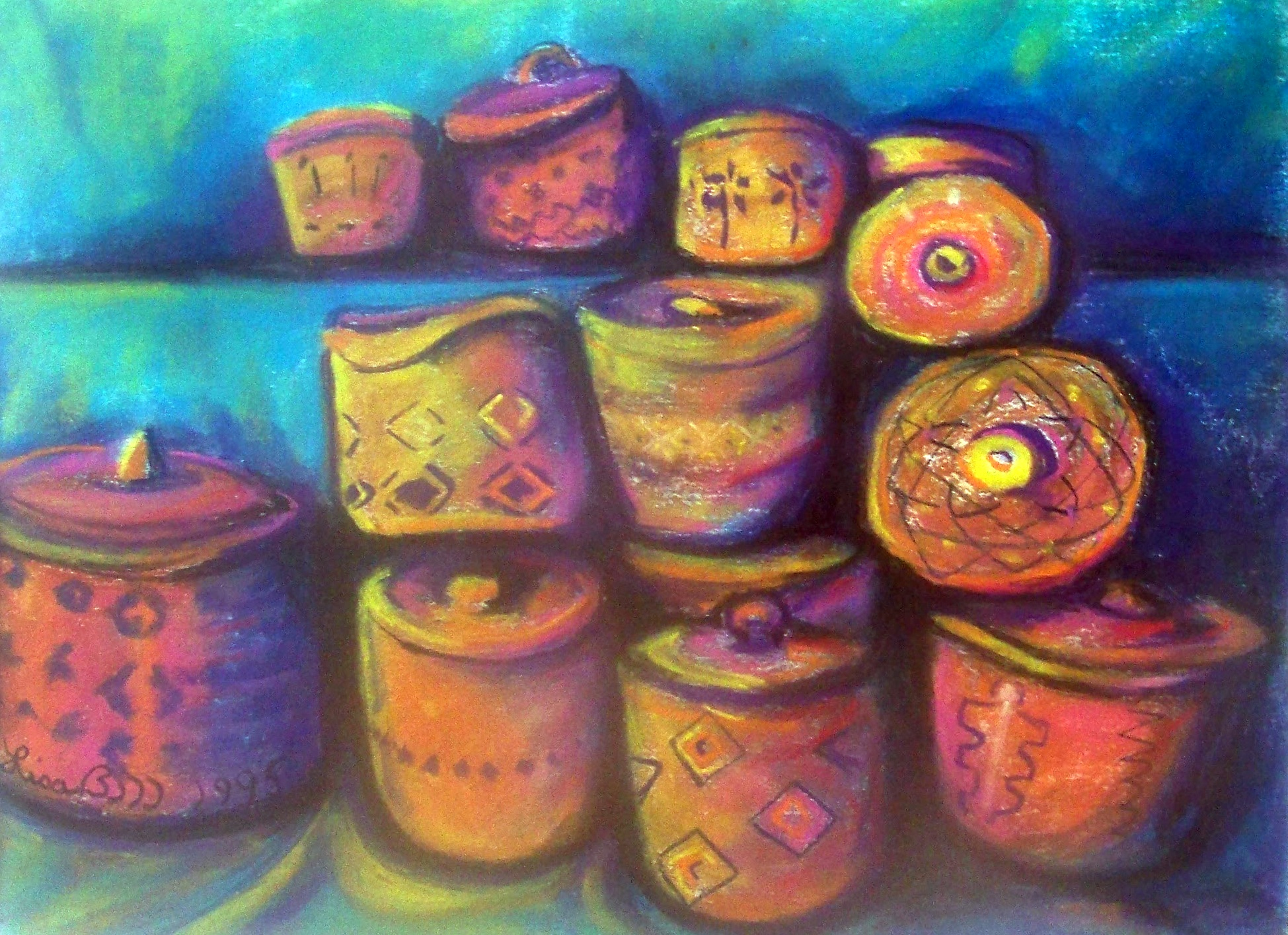 BASKETS 1995 Pastel By Lisa Bell (Lisabelle), American art of American Indians Basket Weaving, Colorful expression of baskets in painting by Lisabelle