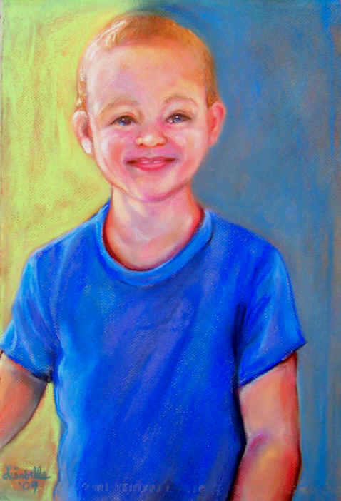 The Great Nephew of Becky 2009. Pastel portrait by Lisabelle.  Portraits of people and pets.
