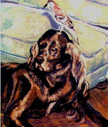 Painting by Lisabelle of an Irish Setter Dog. 18x24""