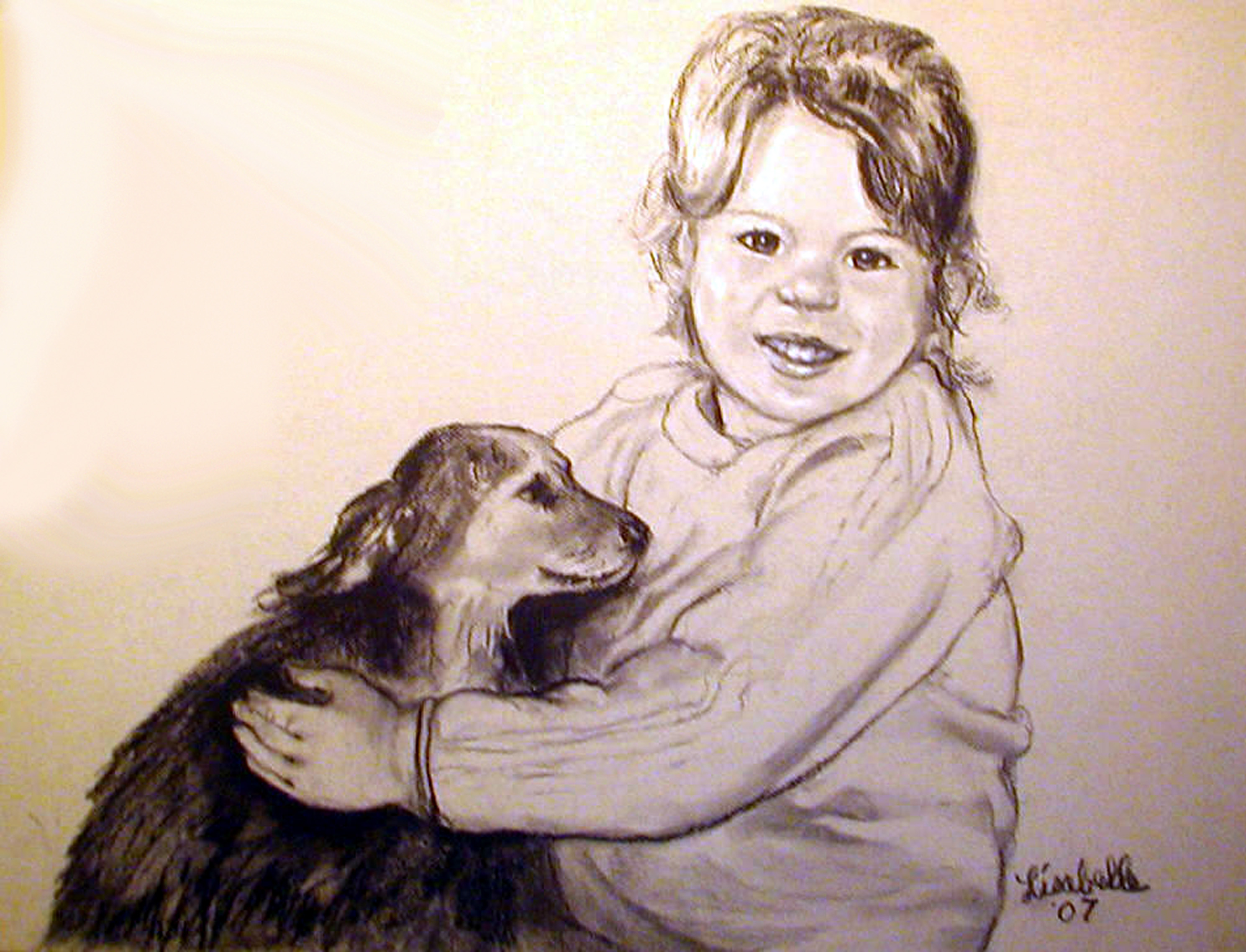 CAROLS GRANDAUGHTER 2007 Charcoal Portraits by Lisabelle, Art by Lisabelle, ArtbyLisabelle, Pet Portraits by Lisabelle, Artwanted.com Prints of your favorite portraits by Lisabelle