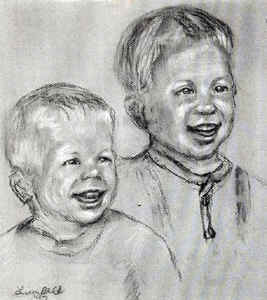 Charcoal portrait by Lisa Bell, Charcoal portrait of two brothers, Portrait of two brothers from photo. 11x17""