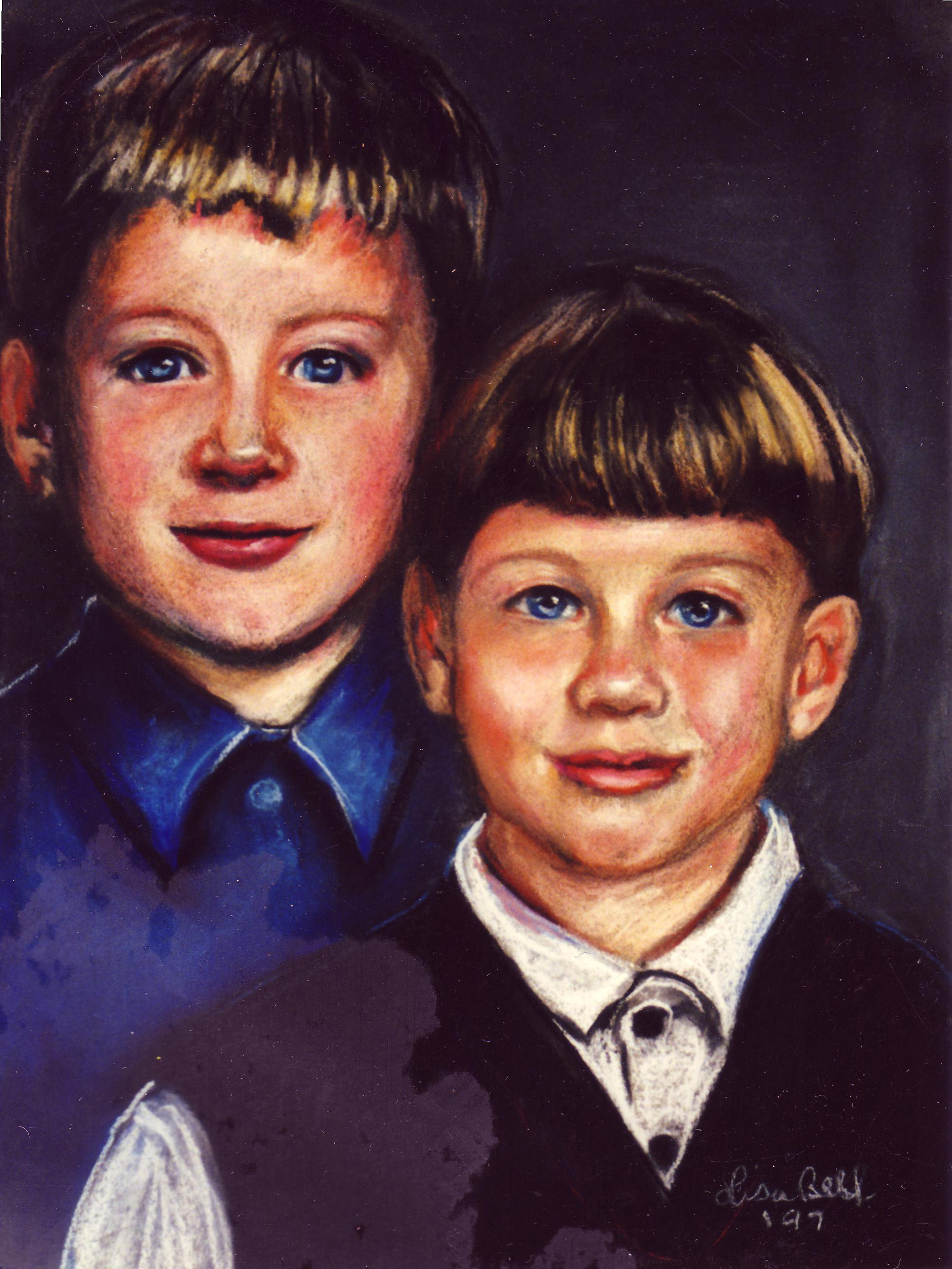 Siblings painted, paintings of brothers and sisters by Lisabelle, commission artist Lisabelle, www.lisabelle-artist.com, send a photo receive a painting, realistic portraits, portraits by hand,