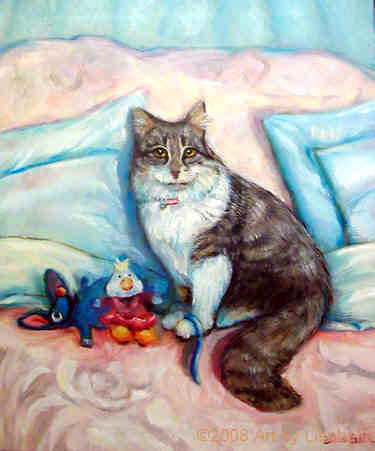 FRANKIE LYNNE Oil Portrait by Lisabelle, An oil portrait of a family cat, Portraits of people and pets by Lisabelle