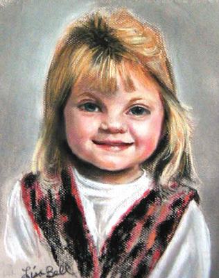 """Anna"" Portraits of Children by Lisabelle, Pastel portraits from school photos, paintings in pastel of children, commission pastel paintings of children, children painted by Lisabelle,  A child's portrait, Hand painted pastel portraits, Pastel Portrait Artist Lisabelle"