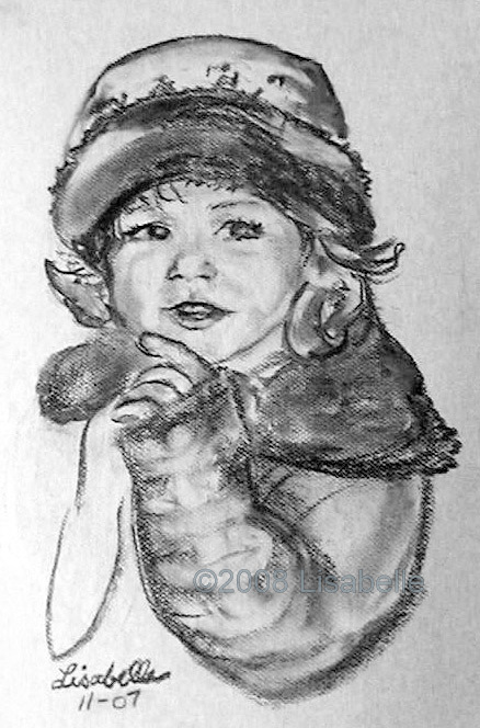 Mary's Children by Lisabelle,Portraits of children, Charcoal Portraits by Lisabelle, Art by Lisabelle, Sisters Hand Drawn Portraits,www.lisabelle-artist.com, Commission Artist Lisabelle, Prints Available,