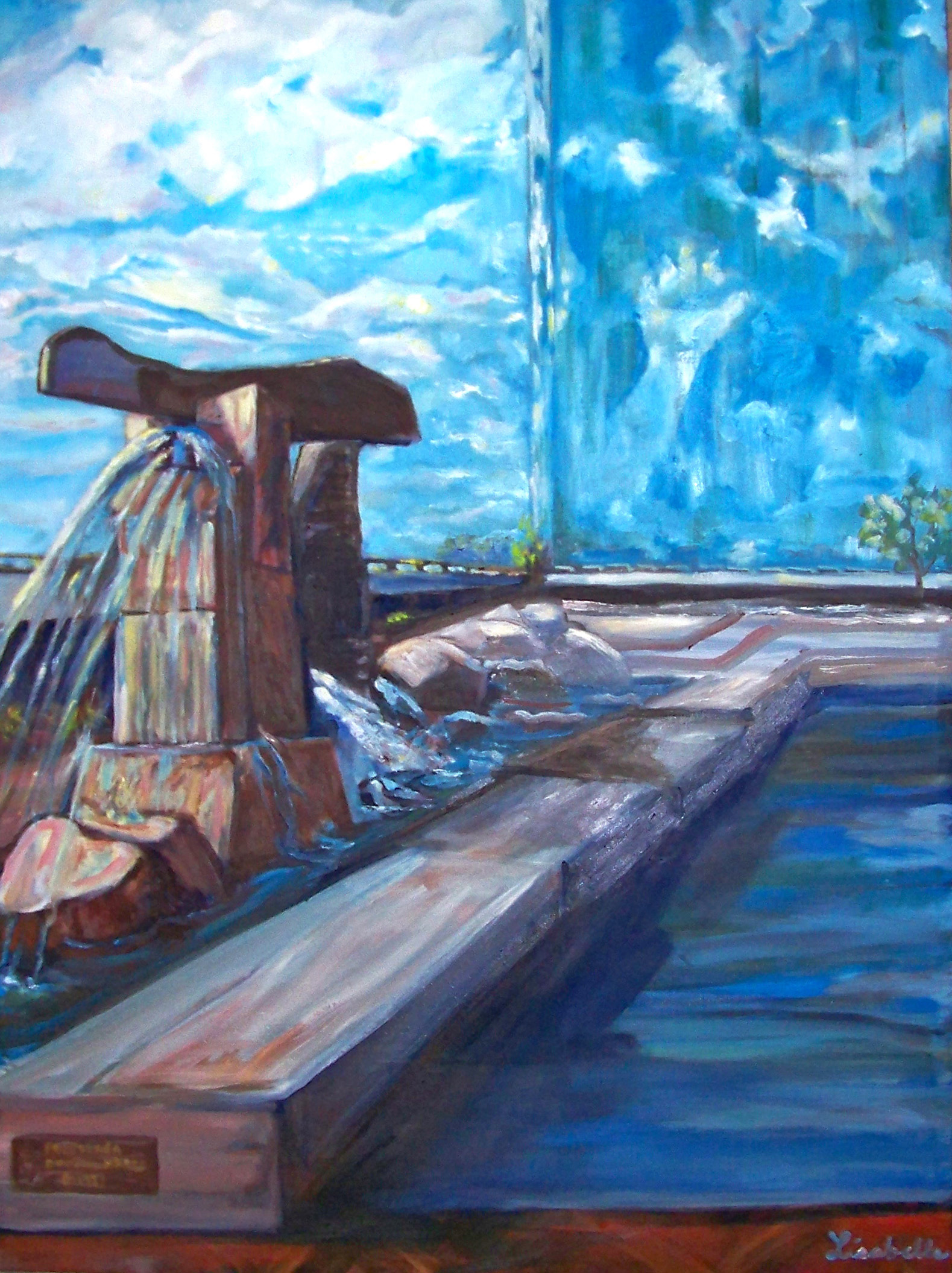 "Toledo, Ohio,  53rd Bank, Reflecting pool, Sculpture art Toledo, OH, Surrealism,  Oil painting by Lisabelle 2008, 36 x 48"" , Surrealistic Painting by Lisabelle, PEACEFUL REFLECTIONS"