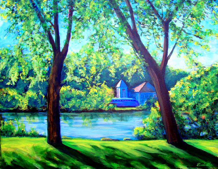 "ACROSS THE HURON RIVER 6/2010 acrylic on canvas 24x32"" by Lisabelle"