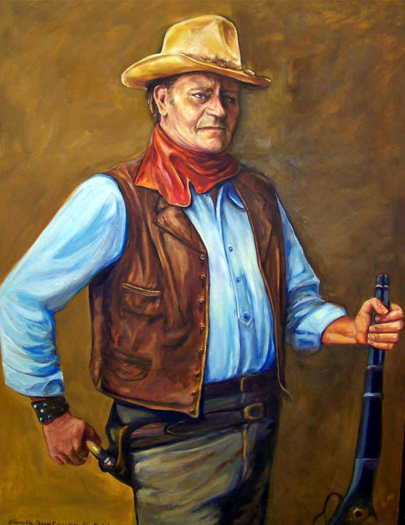 Oil Painting of John Wayne from a black and white photo 2009 by Lisabelle