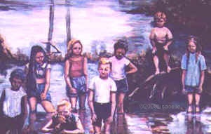Oil Painting of Children, Painting from an old photograph, Oil on wood, Commissioned artwork, 12x24""