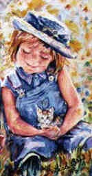 GIRL and KITTEN by Lisabelle, watercolor portraits of people and pets.