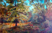 "Landscape Paintings by Lisabelle ©2009  DEER ON SPICER DRIVE, Brooklyn, MI 2006 Oil on canvas 24x36"" prints available"
