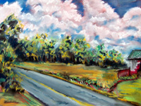 Landscape Paintings by Lisabelle ©2009  plein-air MICHIGAN FARM 2008 Pastel. Prints Available