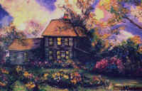 "Landscape Paintings by Lisabelle ©2009  OHIO FARM HOUSE 1997. Acrylic on canvas 24x36"" Sold"