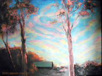 "Landscape Paintings by Lisabelle ©2009  COPPER MORNING 2005. Berkey, OH, 18x24"" acrylic on canvas. Prints Available"