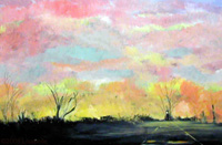 "Landscape Paintings by Lisabelle ©2009  TRAIN ACROSS THE FARMS, Berkey, OH 2005 18x24"" prints available"
