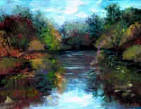 "Landscape Paintings by Lisabelle ©2009.  VINYARD LAKE AUTUMN 14x11"" oil on canvas, Brooklyn, MI ORIGINAL NFS, Prints available"