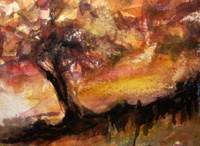 Landscape Paintings by Lisabelle ©2009  TREE AT SUNSET 2001.  Watercolor, nfs Prints Available