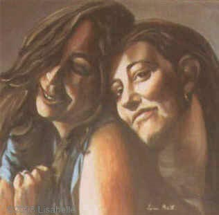 "Oil Portrait by Lisa Bell, portrait of two sisters from a photo.  20x20"" on canvas."