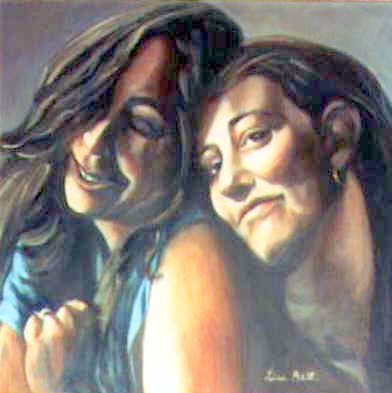 "Oil Portrait of two sisters.  ""Lisa and Leslie"" 20""x20"" 1992 by Lisabelle"