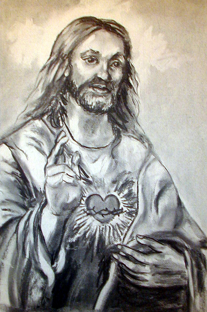 Religious Art by Lisabelle, Sacred heart Jesus Christ, Art of the Lord, Charcoal, Painting, Religious, Christian Art by Lisabelle