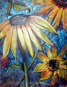"Black Eyed Susan acrylic 18x24"" by Lisabelle"