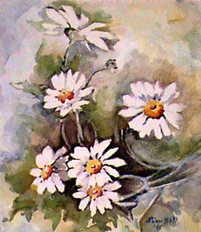 "Original Floral Art Painting by Lisa Bell DAISIES 8x10"" Sold"