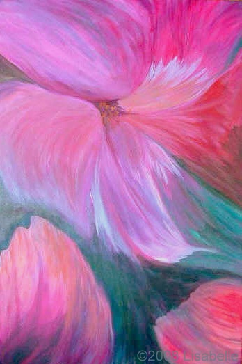 "Original Floral Art Painting by Lisa Bell ""Magenta"" acrylic on canvas 24x36"""