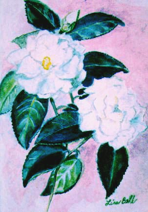 "Original floral painting by Lisa Bell, Watercolor GARDENIAS 8x10"" Sold"