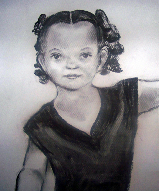 "Charcoal Portraits from life, New Mexico Karaoke Championship Festival 2009, Daughter of Singer, ""Little Dancer"", Charcoal Sketches by Lisabelle from photos, and life."