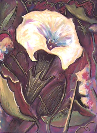 "Original Art Floral Painting by Lisa Bell pastel 18x24"" 200."