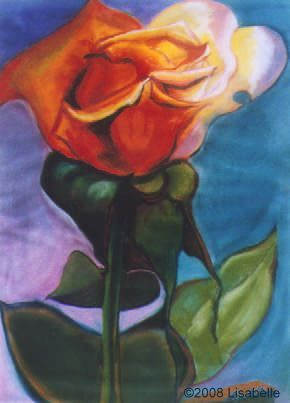 "Orange Rose a painting by Lisabelle, a large rose of pastel on paper.  24x18"" unframed."