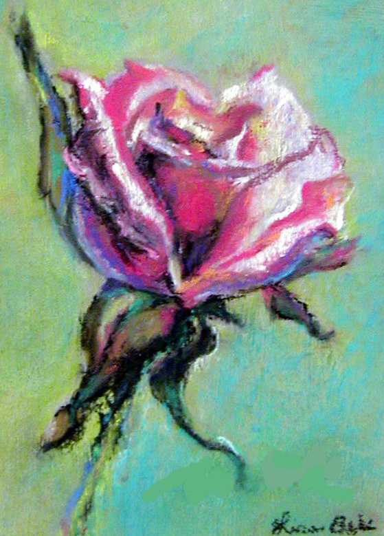 Pink Rose in pastel by Lisabelle