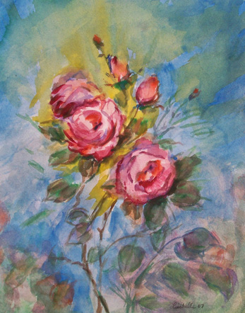 Pink Roses 2008 watercolor flower painting by Lisabelle