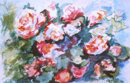 "Original floral painting by Lisa Bell, Roses Bouquet 12x9"" Sold"