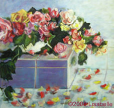 "Original Art Floral Painting by Lisa Bell ""Roses and Tiles"", oil 24x24"" Sold"