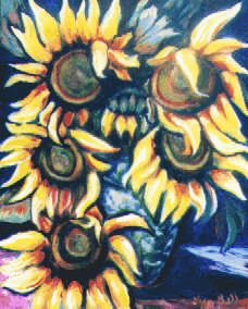 "Original Art Floral Painting by Lisa Bell ""Sunflowers"" oil on wood, 16x20"" Sold"