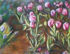 "Original Art Floral Painting by Lisa Bell ""Tulip Garden"" pastel 18x24"" 200."