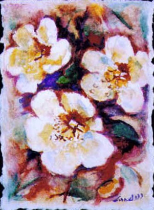 "Original Art Floral Painting by Lisa Bell ""Wild Roses"" on handmade paper 8x10"" 50."