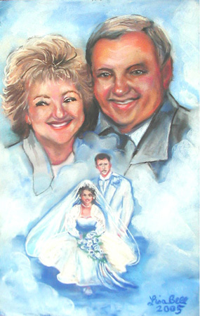 Commissioned Pastel portrait of a married couple.  A 50th, Golden Anniversary gift from this couples Daughter.  2004. Pastel on paper. Art By Lisabelle