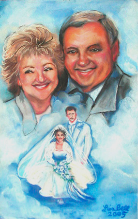 Portrait in Pastel by Lisa Bell, Portrait from 2 photos, 50th Anniversary Gift.