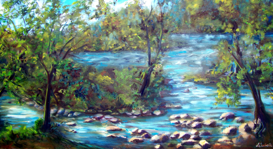 "Huron River New Delhi, MI Oil painting by Lisabelle ©June 2010 24x48"" gallery wrapped, edges 1.5"" painted around."