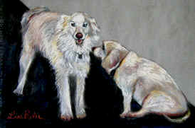 Portraits by Lisa Bell, pastel of two dogs, Commissioned June 06
