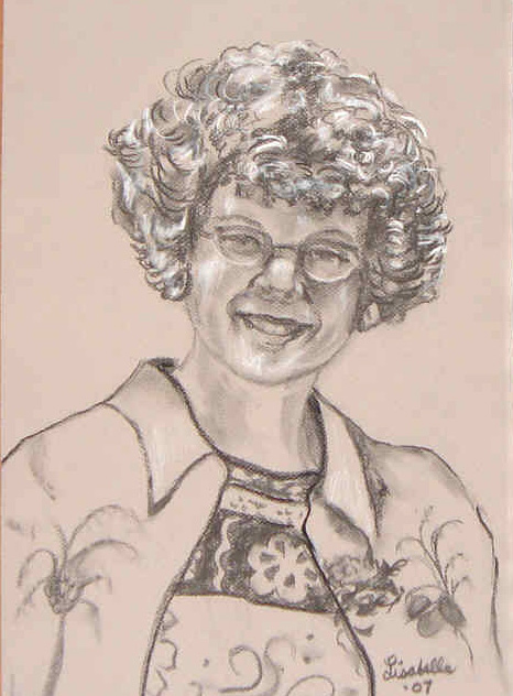 A Portrait of Pat by Lisabelle�2008, Charcoal Portraits by Lisabelle, Art by Lisabelle, Art by Abellalisa, Portraits from photos, Churchills Maumee, OH, Portrait Sketches of Family, Family Portraits