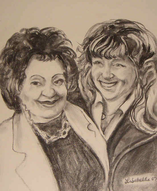 Pat's Mom and Sister by Charcoal Portraits by Lisabelle, Family Portraits by Lisabelle, Family Drawings, Art by Lisabelle, ArtbyLisabelle, ArtWanted.com, Prints Available from www.lisabelle-artist.com,
